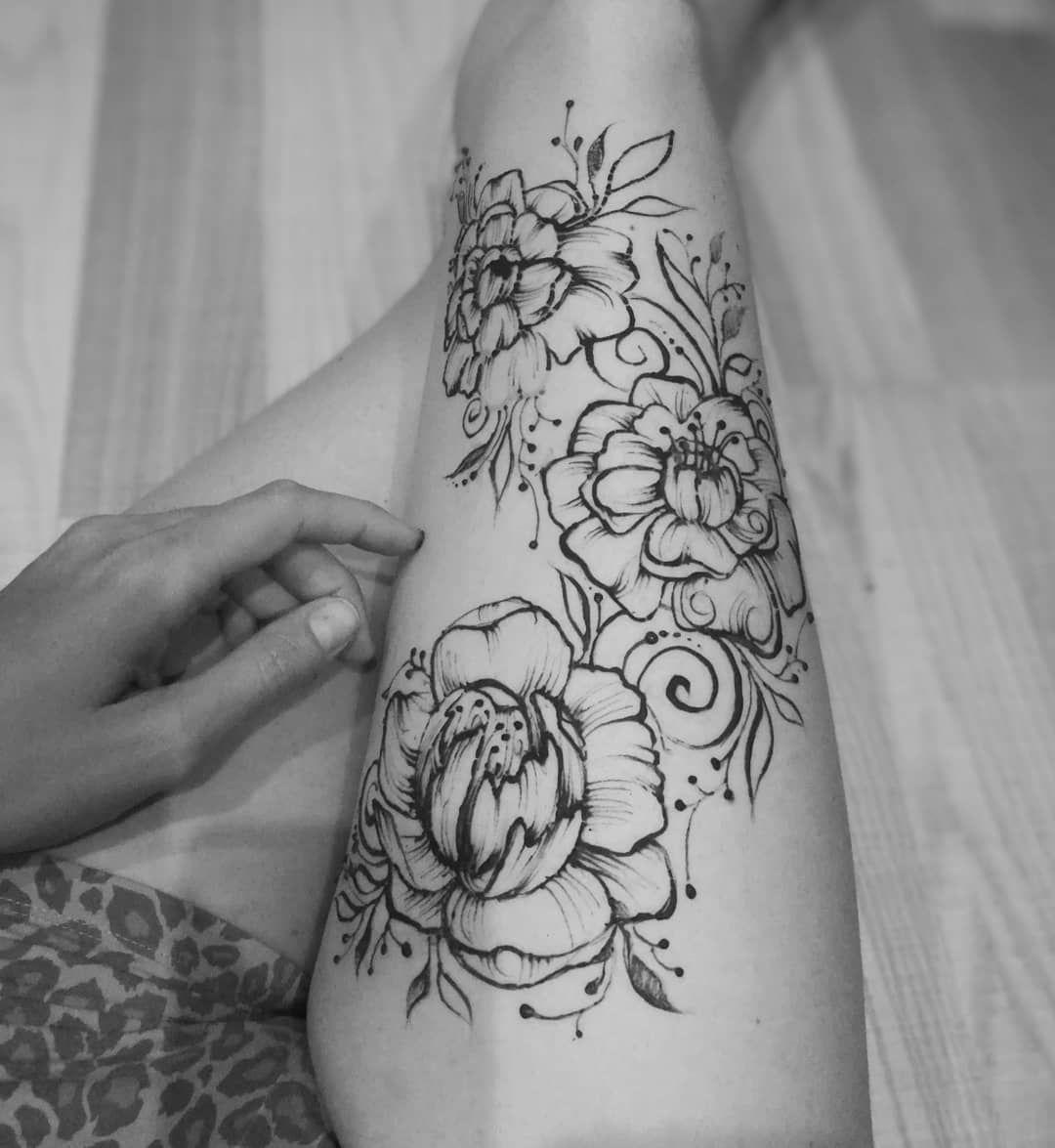 эскизы хной на ноге цветы фото записав