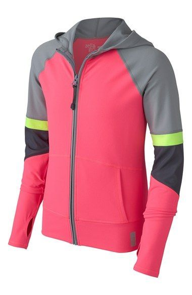Free shipping and returns on Zella Girl Colorblock Hoodie (Little Girls & Big Girls) at Nordstrom.com. Bold color blocking lends contemporary flair to a sporty zip hoodie detailed with thumbhole cuffs to help keep out the elements.