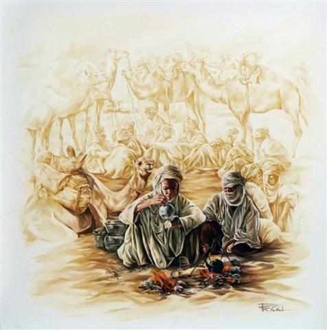 La route du sel (Peinture),  120x120 cm par Sonia Privat Huile sur toile, disponible en carte postale