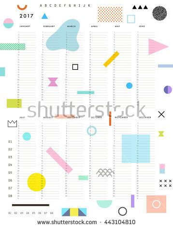 Yearly Planner Calendar with Vertical Months on white background