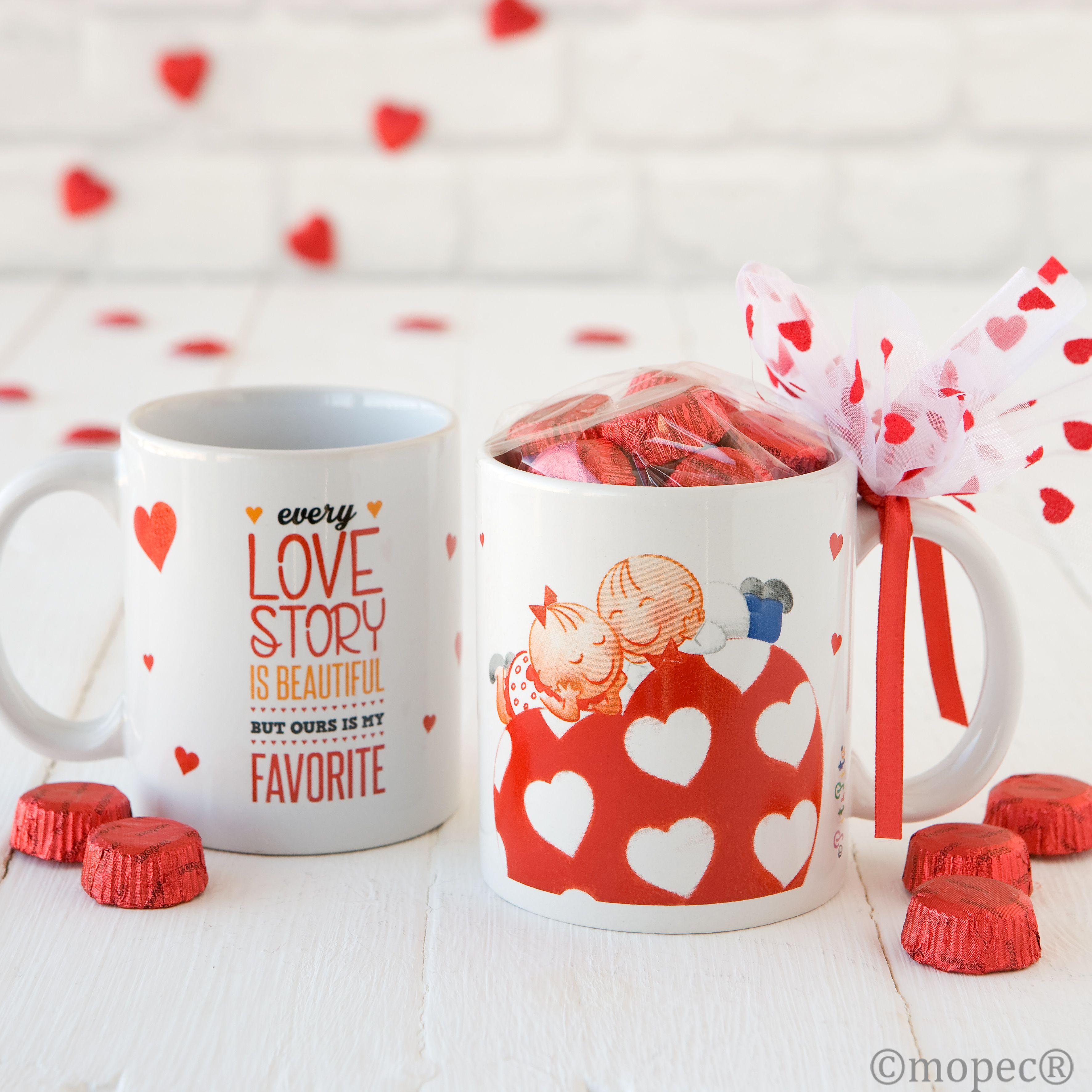 Una taza llena de detalles dulces como regalo de san - Dulces de san valentin ...