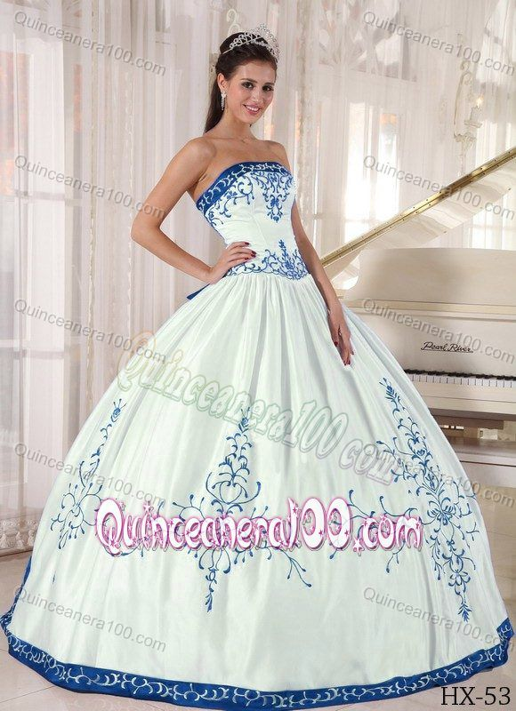 3bcfa8d7230 Exquisite White Sweet 15 Birthday Dress with Blue Embroidery ...