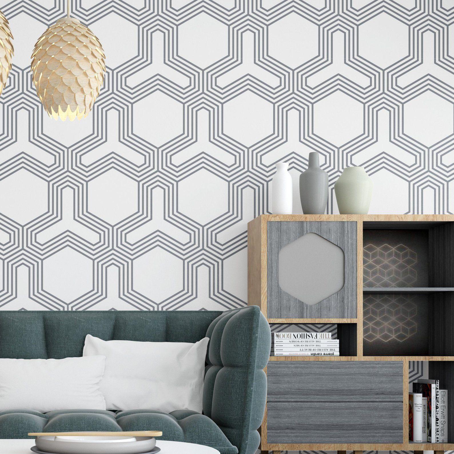 Futuristic Geometric Wallpaper Roll Black and White