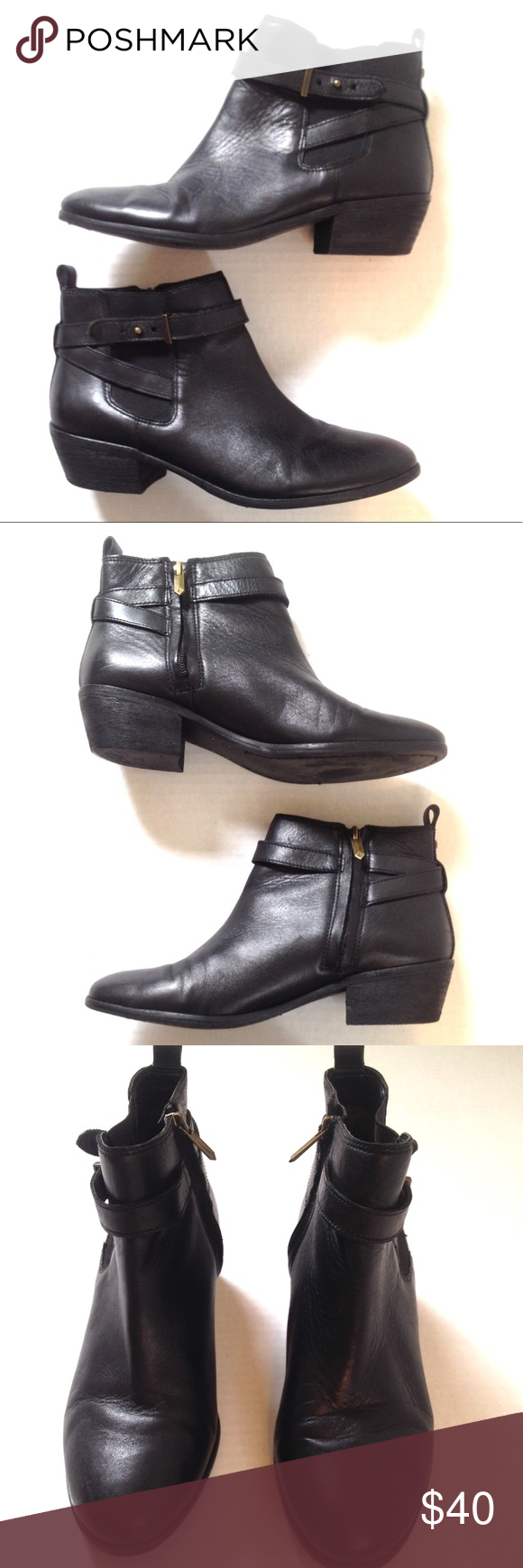 23e82c63360c Sam Edelman Pacific Wraparound black ankle booties These genuine black leather  ankle boots from Sam Edelman