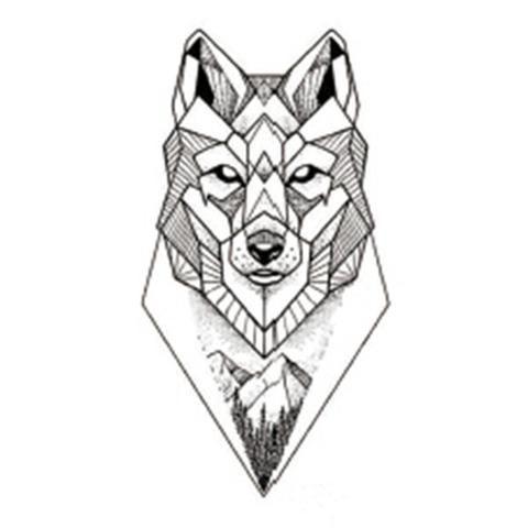Sanaer Geometric Wild Wolf Nature Animal Temporary Tattoo Geometric Wolf Tattoo Geometric Wolf Geometric Tattoo