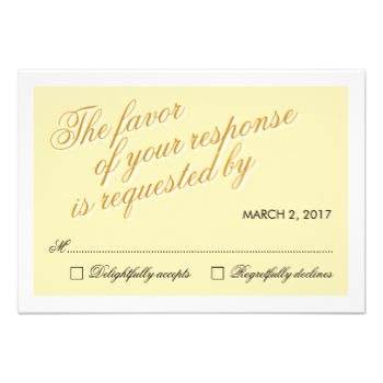 Beautiful stylish calligraphic yellow wedding RSVP response card. #response #rsvp #response #cards #elegant #white #clean #contemporary #yellow #calligraphy #calligraphic #fresh #spring #professional #stylish #lovely #unique #templates #beautiful #original #wedding #weddings #marriage #ceremony #special #occasion #custom #template #design #modern #pretty #minimal #minimalist