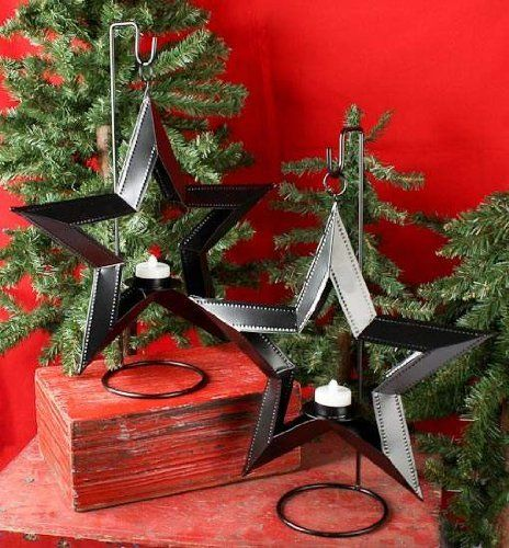 Set of 2- Black Painted Dimensional Hanging Star Candle Holders by Unknown, http://www.amazon.com/dp/B006K0X57E/ref=cm_sw_r_pi_dp_SzgMpb11GT5F6