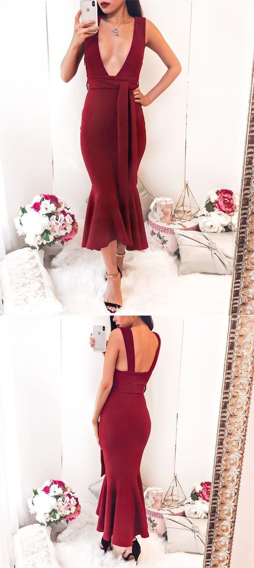 Sheath deep vneck sleeveless burgundy tea length long homecoming