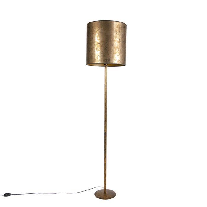 Vintage Floor Lamp Gold With Old Bronze Golden Shade 40cm