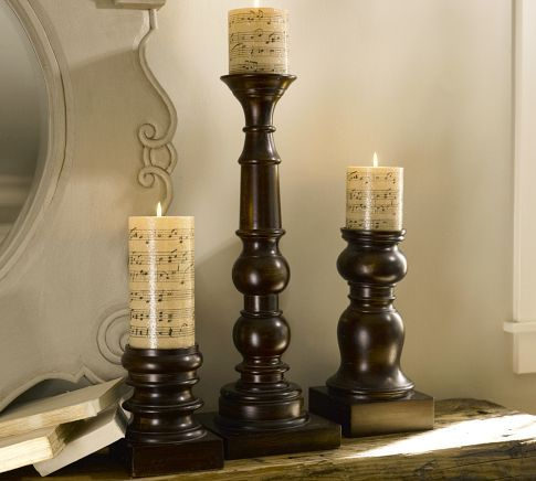 Pottery Barn Wood Pillar Candle Holders Love The 3 Different Sizes For A Mantel Need To Find