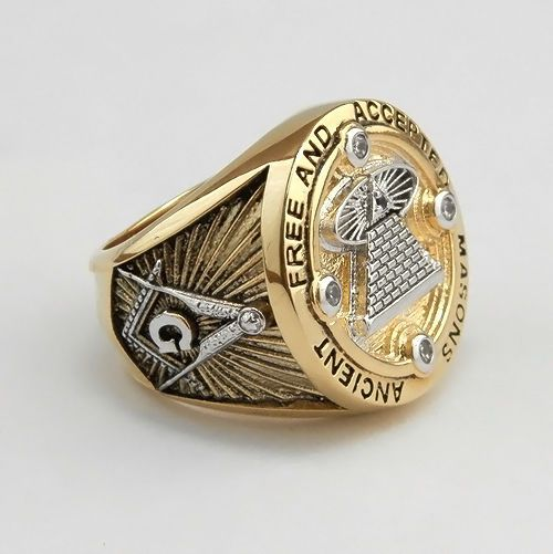 Masonic Ring All Seeing Eye 18K Yellow Gold Plated AAA stones