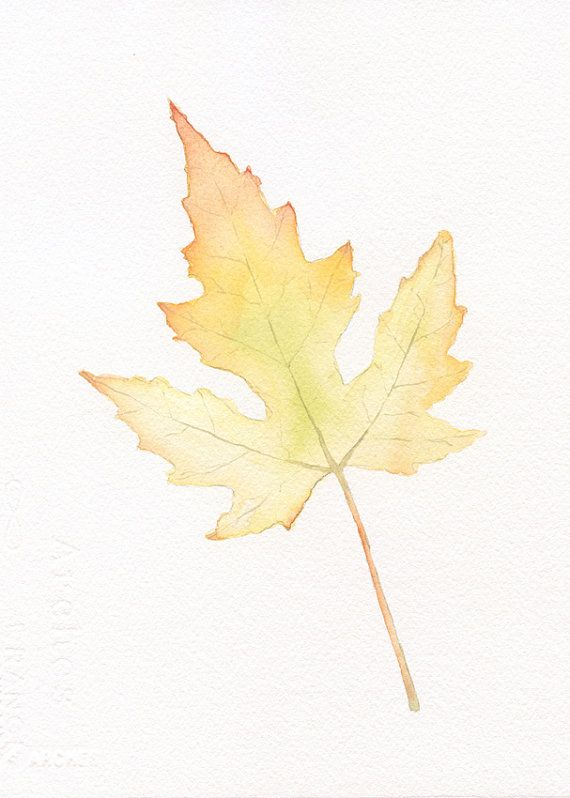 Maple Leaf Original Watercolor Painting Print 5x7 Fall Autumn