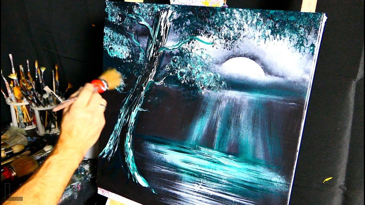 Green Moonlight Abstract Painting Simple Step By Step 2 Colors Art Acryl Malen Abstrakte Malerei Eule Malen