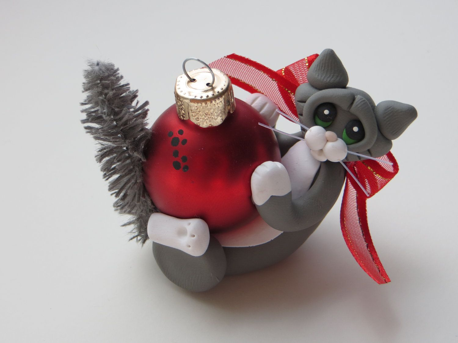 Personalized cat christmas ornaments - Polymer Clay Cat Christmas Ornament Gray Tuxedo By