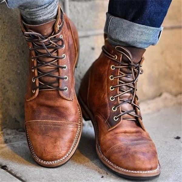 Men Fashion-Ankle Boots Military British Style Lace-up Vintage Flat Work Shoes