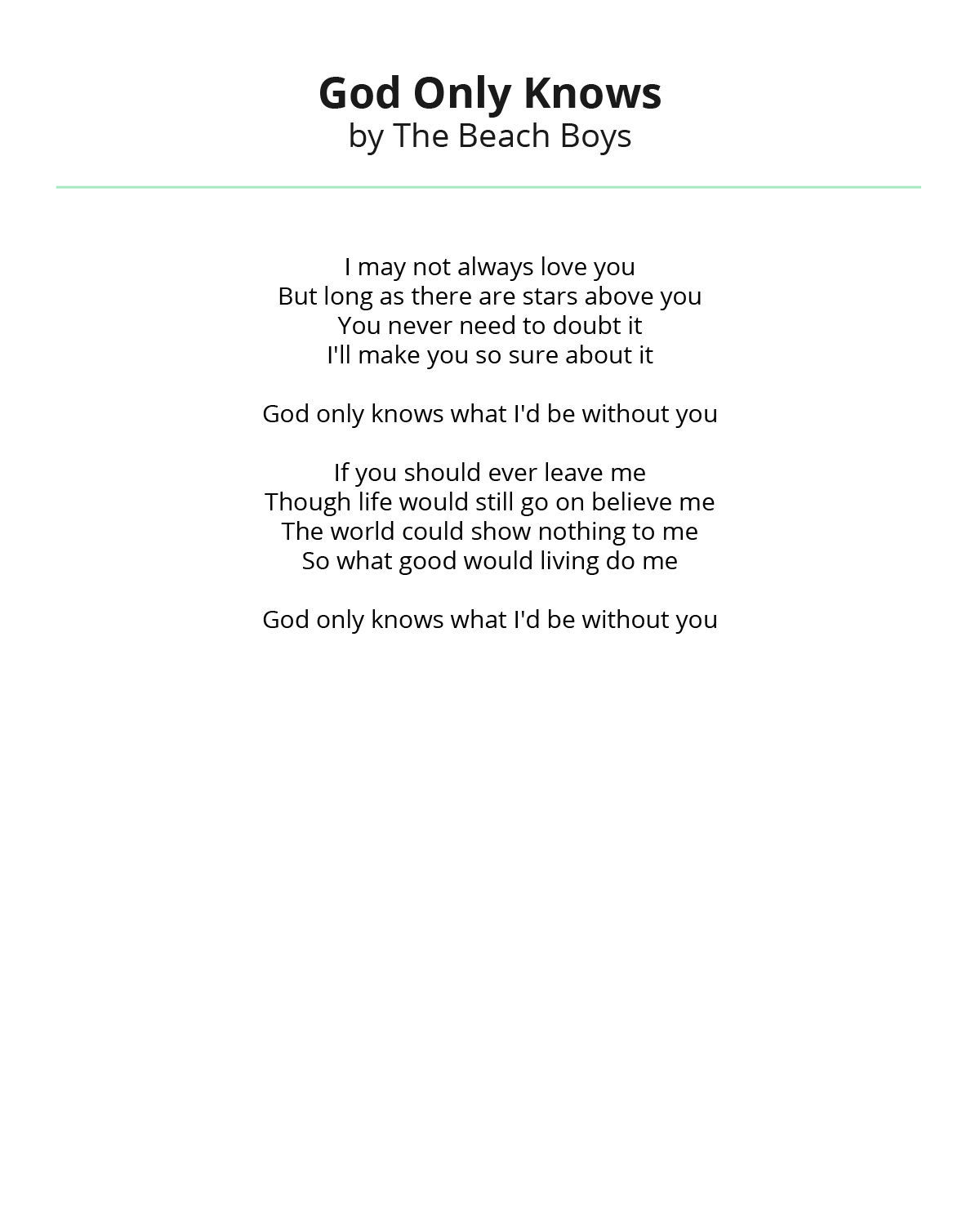 God Only Knows By The Beach Boys Wedding Reading Wedding Readings Wedding Humor Love Poems Wedding