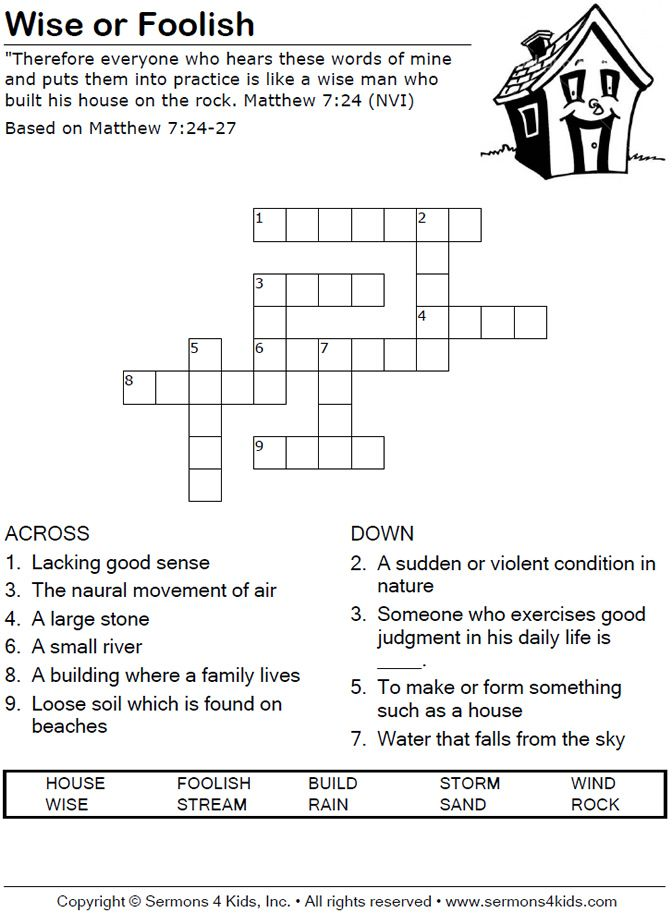 Wise Or Foolish Crossword Puzzle Bible Class Bible