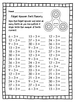 New Fidget Spinner Fact Fluency Fun Way To Increase Division Fact