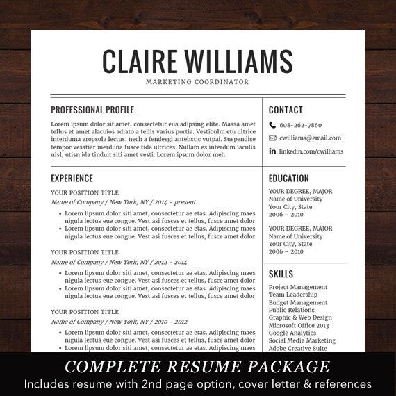 Professional Resume Template, Free Cover Letter, Instant Download - complete resume