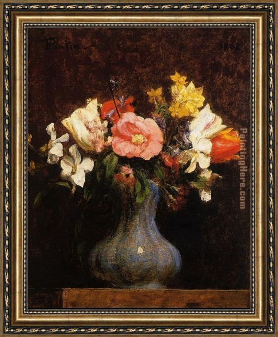 Henri Fantin-Latour Flowers Camelias and Tulips Framed Painting
