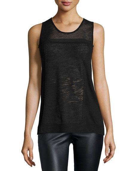 Halston Heritage Sleeveless Mesh-Yoke Sweater, Black