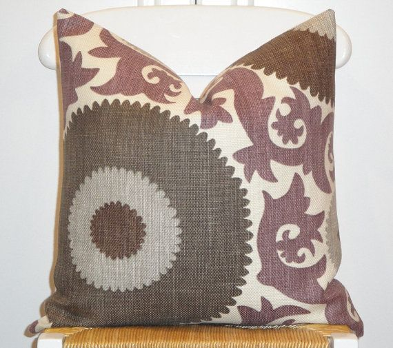 Brown Throw Pillows Etsy : Beautiful Decorative Pillow Cover - 18 x 18 - Suzani - Throw Pillow - Accent Pillow - Purple ...