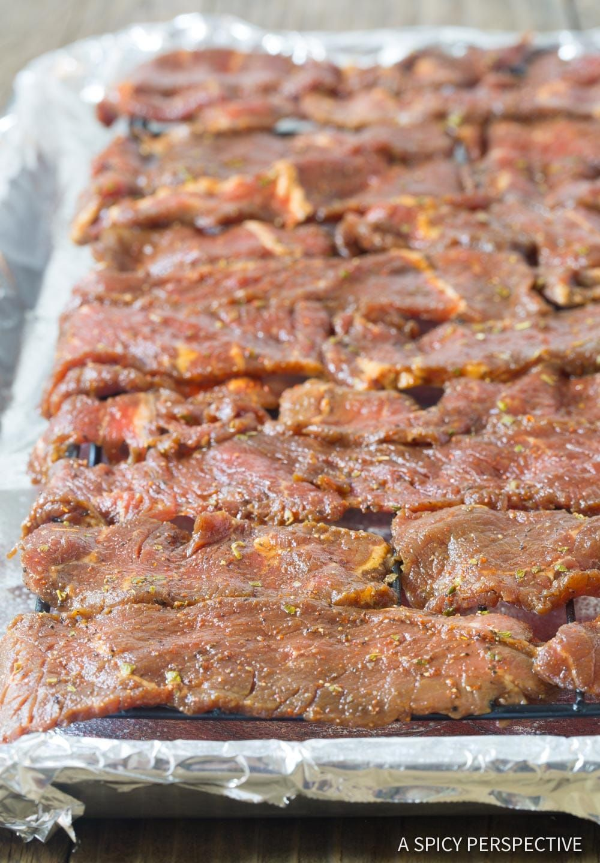 How To: Best Homemade Oven Beef Jerky #Keto #Paleo #ASpicyPerspective | Oven beef jerky, Beef ...