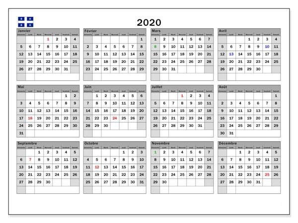 Calendrier Annuel 2020 Télécharger Calendar