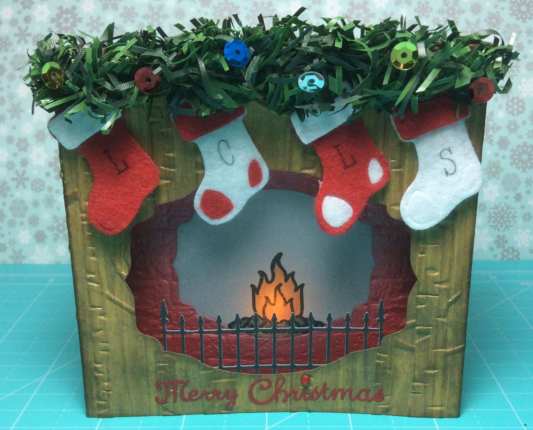 Handmade Christmas Stockings Handmade Christmas Card Personalized Card Lighted Fireplace