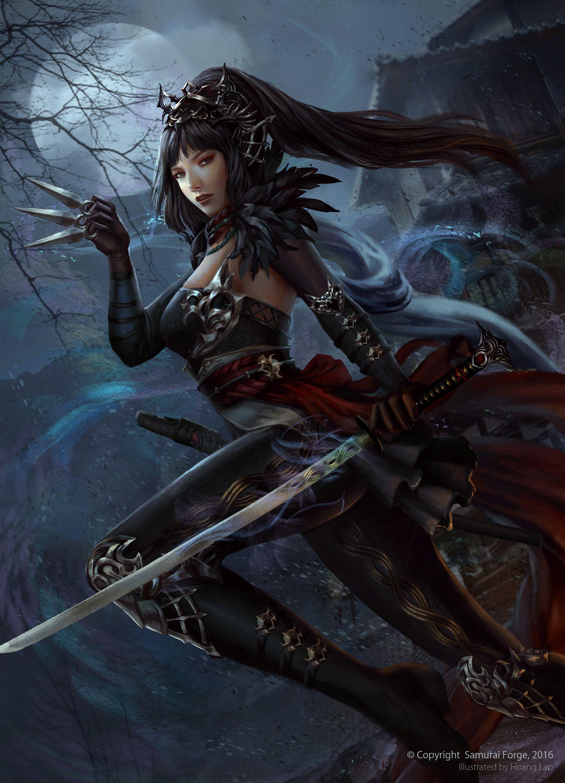 Anime Wallpaper Girl Busty Black Hair Pale Skin Artstation Dark Ninja Hime Ho 224 Ng Lập Solan Fantasy