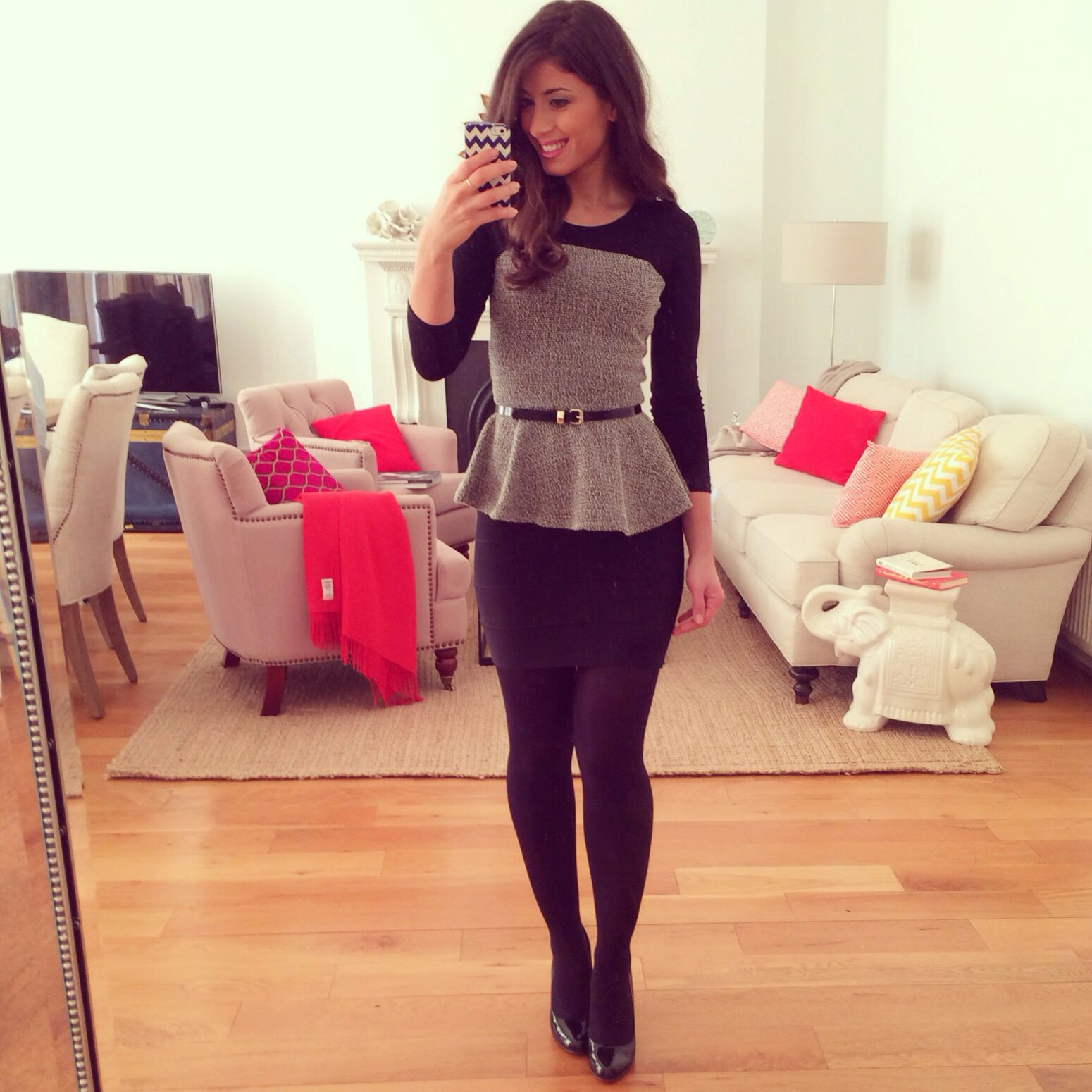 Mimi Ikonn Office Chic GreyBlack Waisted Peplum Top