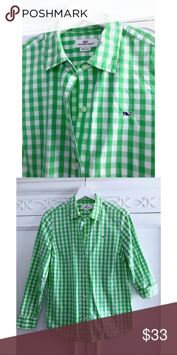 b9a3cc53e877 4 Vineyard Vines Green White Gingham Button Down S 4 Vineyard Vines Womens  Green White Gingham Button Down Blouse Shirt Whale Logo Small Medium  approx. see ...