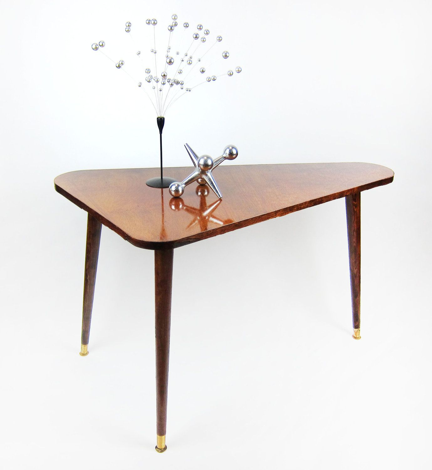 Triangle side table mid century modern triangular coffee table