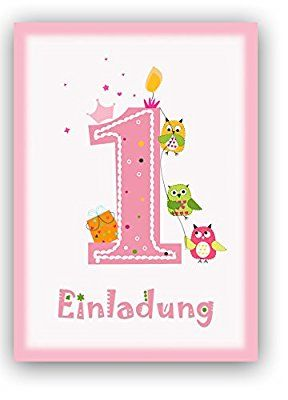 12 Einladungskarten Kindergeburtstag Zum 1. Geburtstag In Rosa Mit Eulen