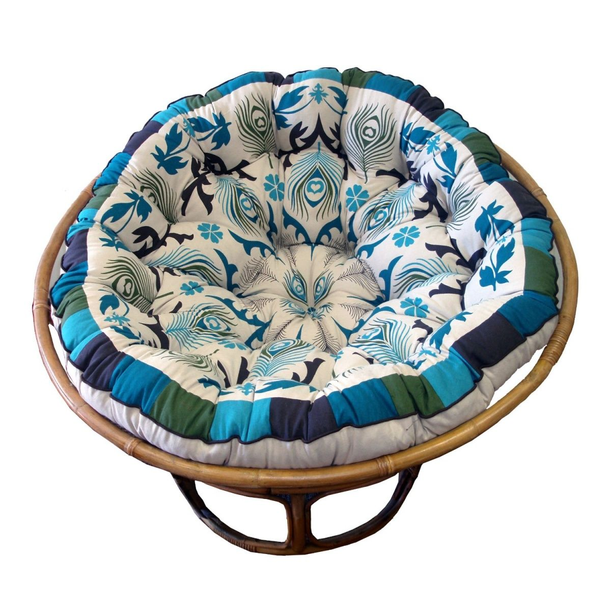 Cotton Craft Papasan Pea Blue Overstuffed Chair Cushion Sink Into Our Super Comfortable Really Thick And Oversized Pure