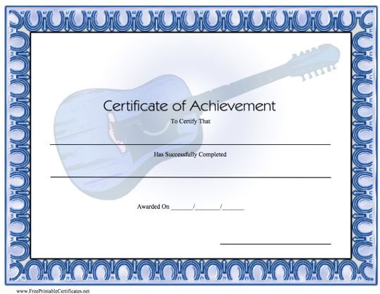 This certificate of achievement in music is blue with an acoustic