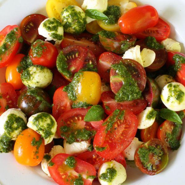 Tomato And Bocconcini Salad With Beautiful Basil Dressing Bocconcini Salad Cherry Tomato Salad Salad