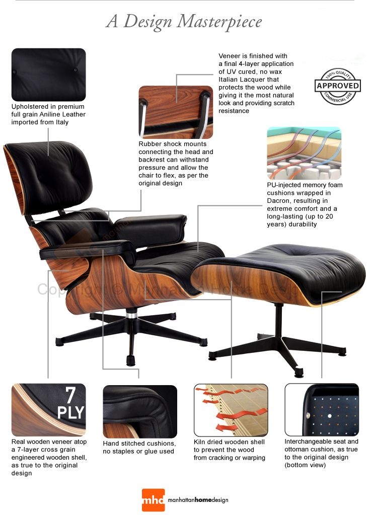 Classic lounge chair ottoman black design eames for Lounge chair replica erfahrungen