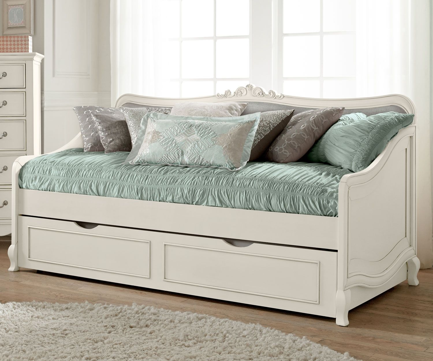 eKids Rooms White daybed, Daybed with trundle, Girls