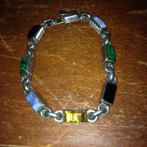 Vtg Taxco Turquoise Lapis Lazuli Malachite Sterling Silver Southwestern Bracelet