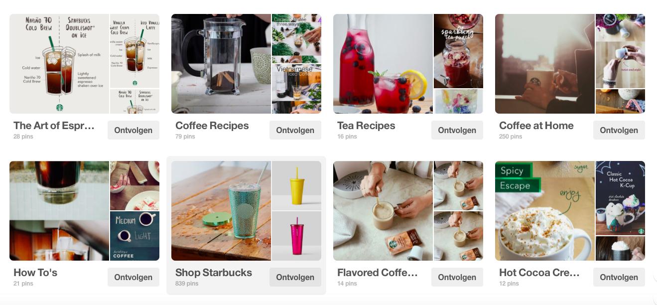 Starbucks maakt heel goed gebruikt van Pinterest. Ze hebben verschillende boards zoals eentje van de decoratie in de winkel, verschillende soorten koffie's,.. Ook hebben ze boards over hoe je zelf de koffie kan maken, dingen die je kan uitproberen. Een hele goede communicatie rond hun merk.