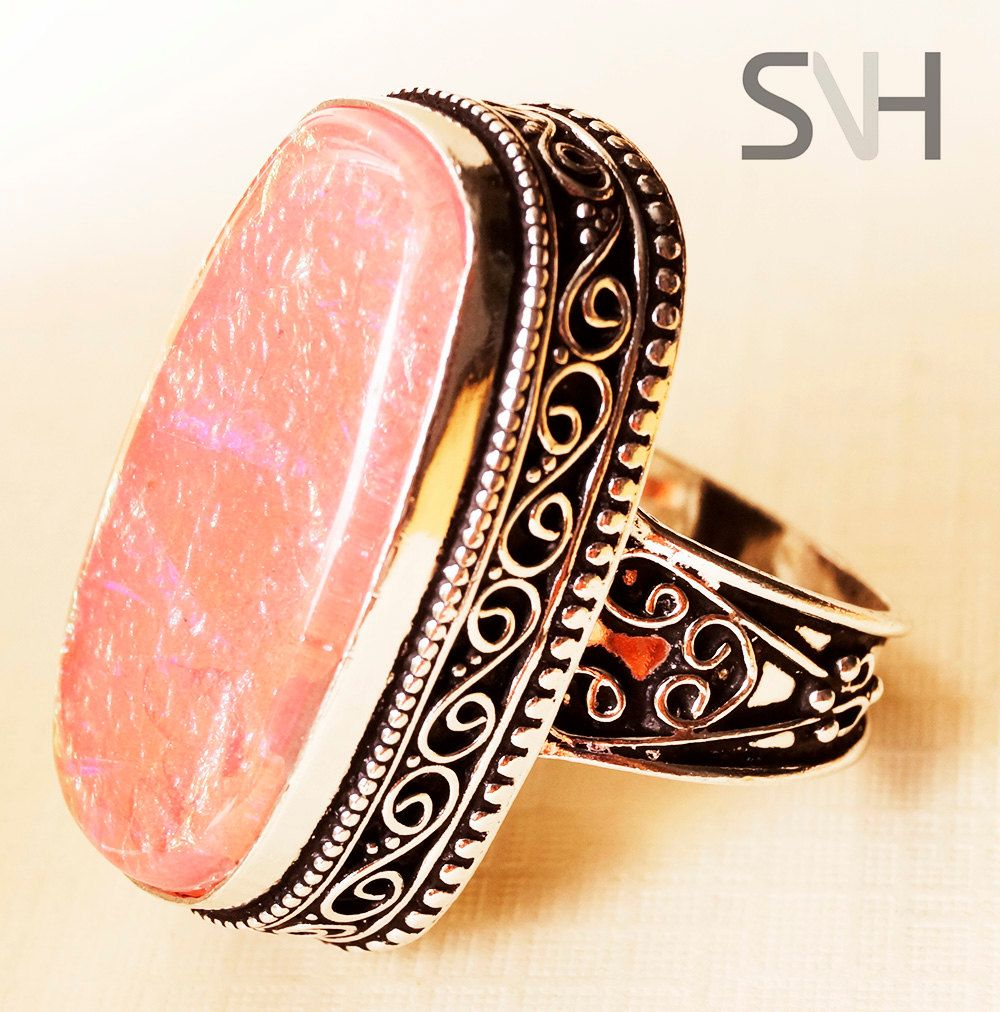 SNH  Natural Rose Quartz Ring by SNHJewels on Etsy