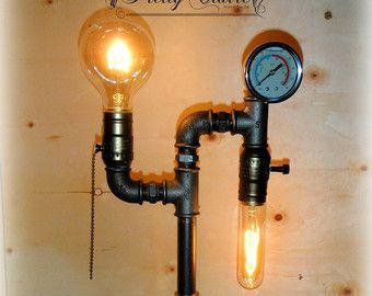 Lampe tube tuyau industriel lampe tube steampunk noir fer tuyau