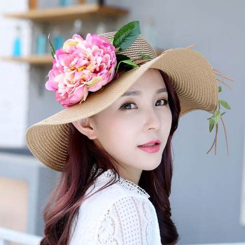 Straw wide brim hat UV package flower sun beach hats for girls ... cea54c794af5