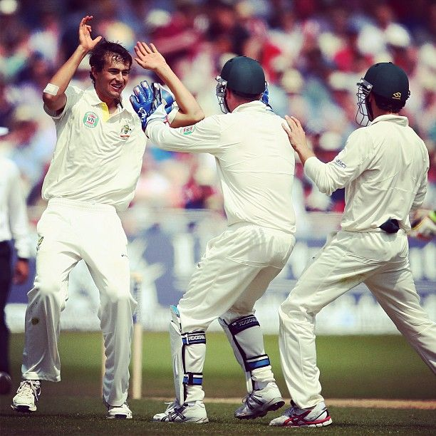 Ashton #Agar celebrates taking his first wicket in #Test #cricket. Congrats Ash! #Ashtag #Ashes
