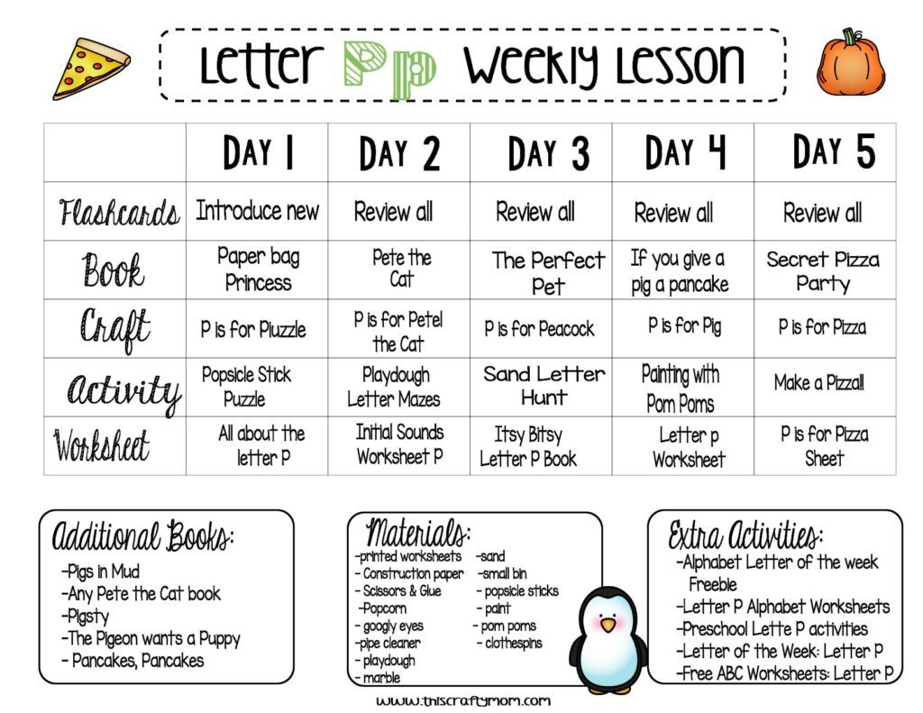 Free Preschool Letter P Weekly Lesson Plan