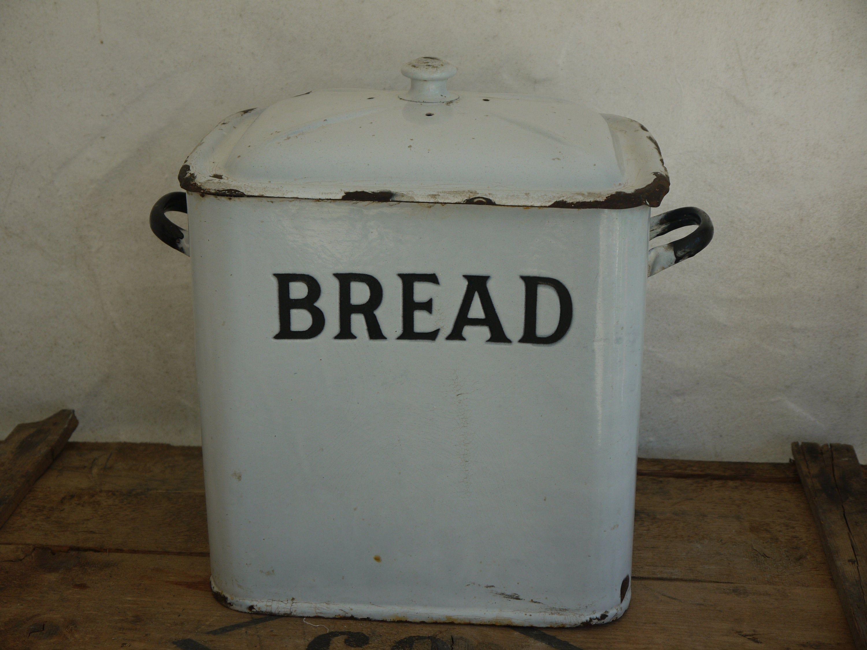 Rare Old Victorian Bread Box Enamel Bread Box Vintage