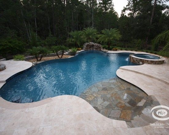 Zero Entry Pools Design Ideas Pictures Remodel And Decor Backyard Pool Landscaping Pool Landscaping Small Palm Trees