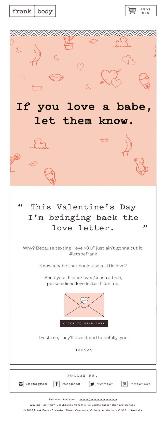 Send A Love Letter On Me  Really Good Emails  Good Email Design