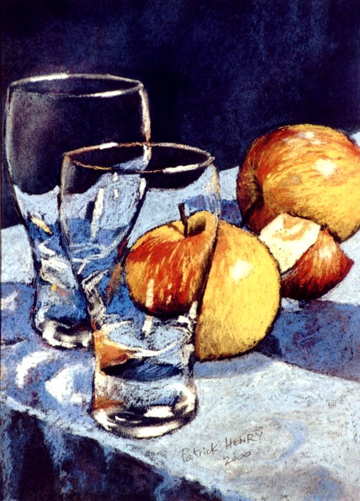 Apples and glasses (verres et pommes) soft pastel by PatrickHENRY on deviantART